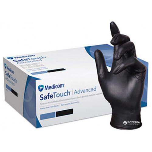 Medicom перчатки нитриловые черные XL