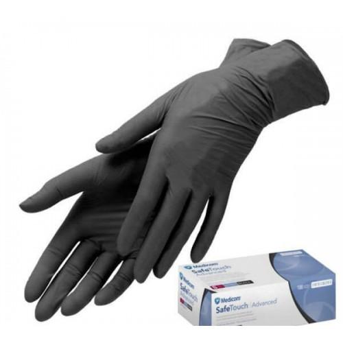 Medicom перчатки нитриловые черные XS прочные